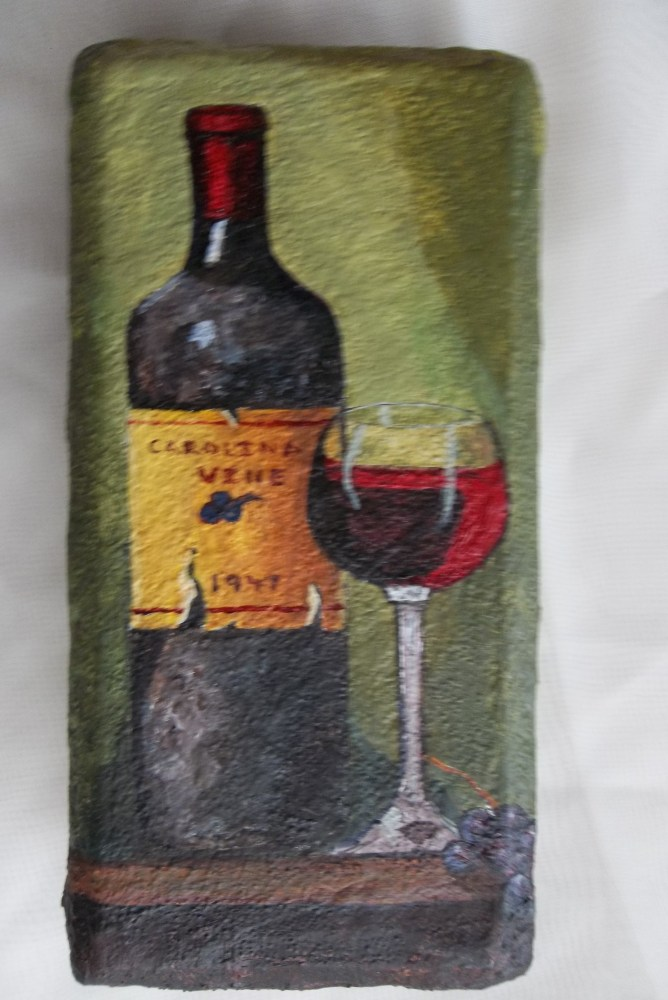 Wine Bottle And Glass Painted On A Brick