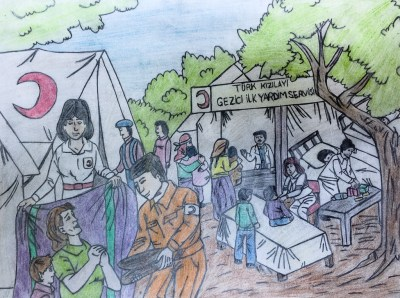 The drawing of a refugee camp for Syrians in Turkey by an 11-year-old girl. She now works in a clothing store in Istanbul to make money.