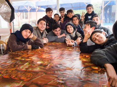 David with a group of boys from Syria, by Tamador