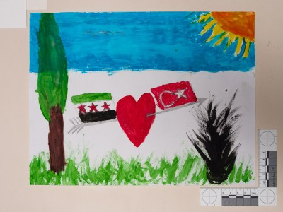 Syria and Turkey. Drawing by a Syrian girl.