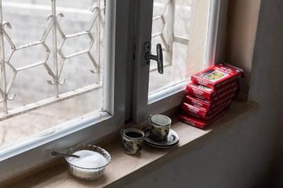 Art supplies and Turkish coffee in Kahramanmaras, Turkey, by Mieke Strand
