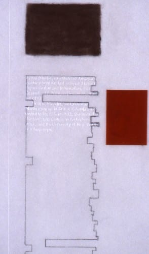 Detail of Karen L. Schiff, Agnes Martin, College Art Association News, March 2005, opening, 2005, graphite, pastel, ruby lith, and stylus on vellum, 12 x 18 inches (artwork © Karen L. Schiff)