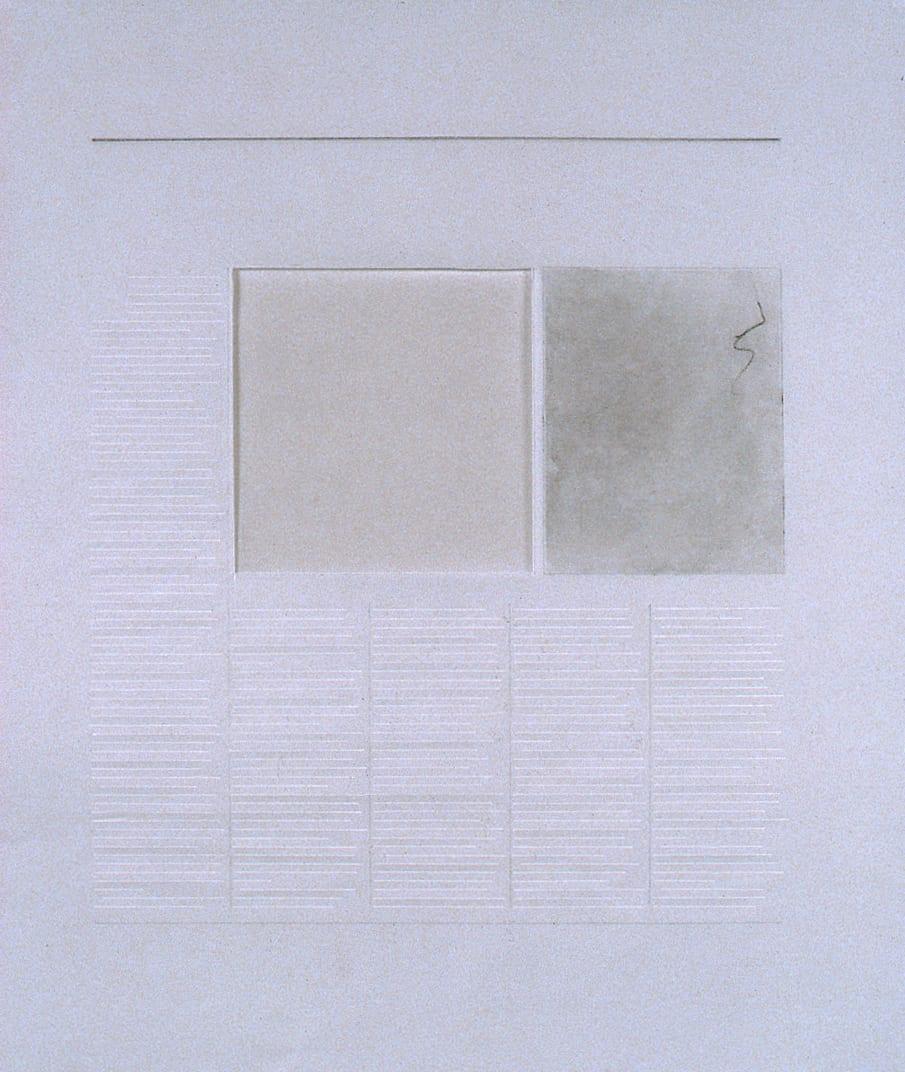 Karen L. Schiff, Agnes Martin, The London Daily Telegraph, 21 December 2004, opening, 2005, graphite, charcoal, and stylus on vellum, 17 x 14 inches (artwork © Karen L. Schiff)
