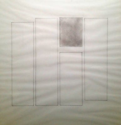 Detail of Karen L. Schiff, Agnes Martin, The Boston Globe, 17 December 2004, I, 2005, tape on vellum, 17 x 14 inches (artwork © Karen L. Schiff)