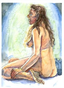 female sitting nude figure drawing watercolour