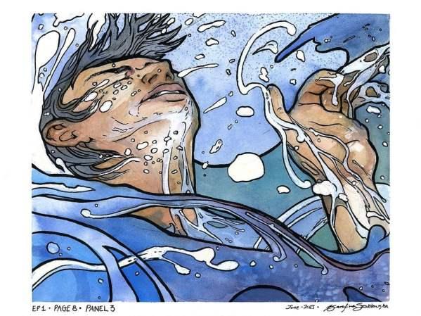 watercolour painting man drowning