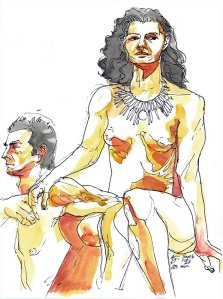 orange figure drawing watercolour