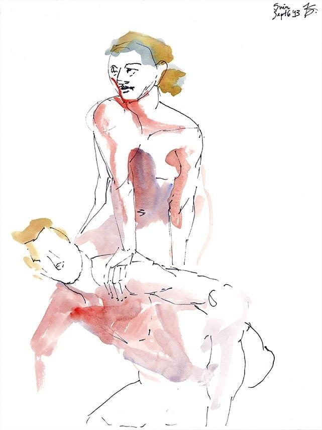 "9""x12"" watercolour sketch, figure drawing, 2013."