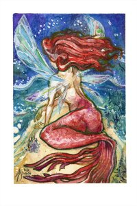 fairy mermaid watercolour painting