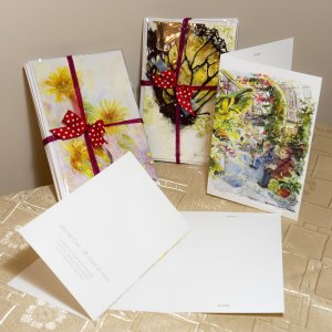 mixed set of greeting cards in greenhouse theme