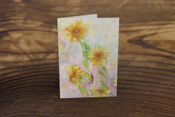 greeting card or note card featuring watercolor of sunflowers