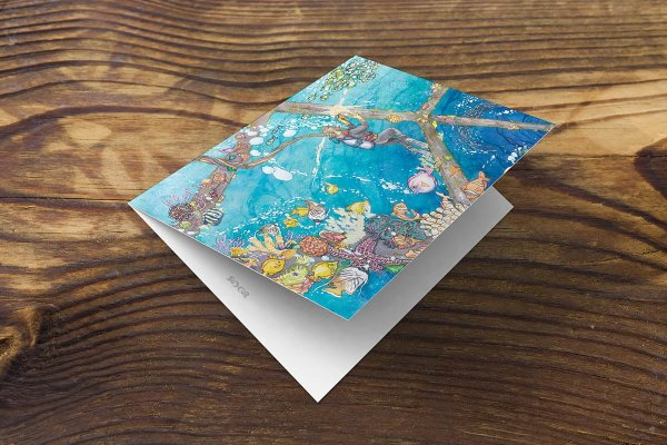 front of ocean greeting card or note card featuring watercolor coral seascape, welding diver, fish