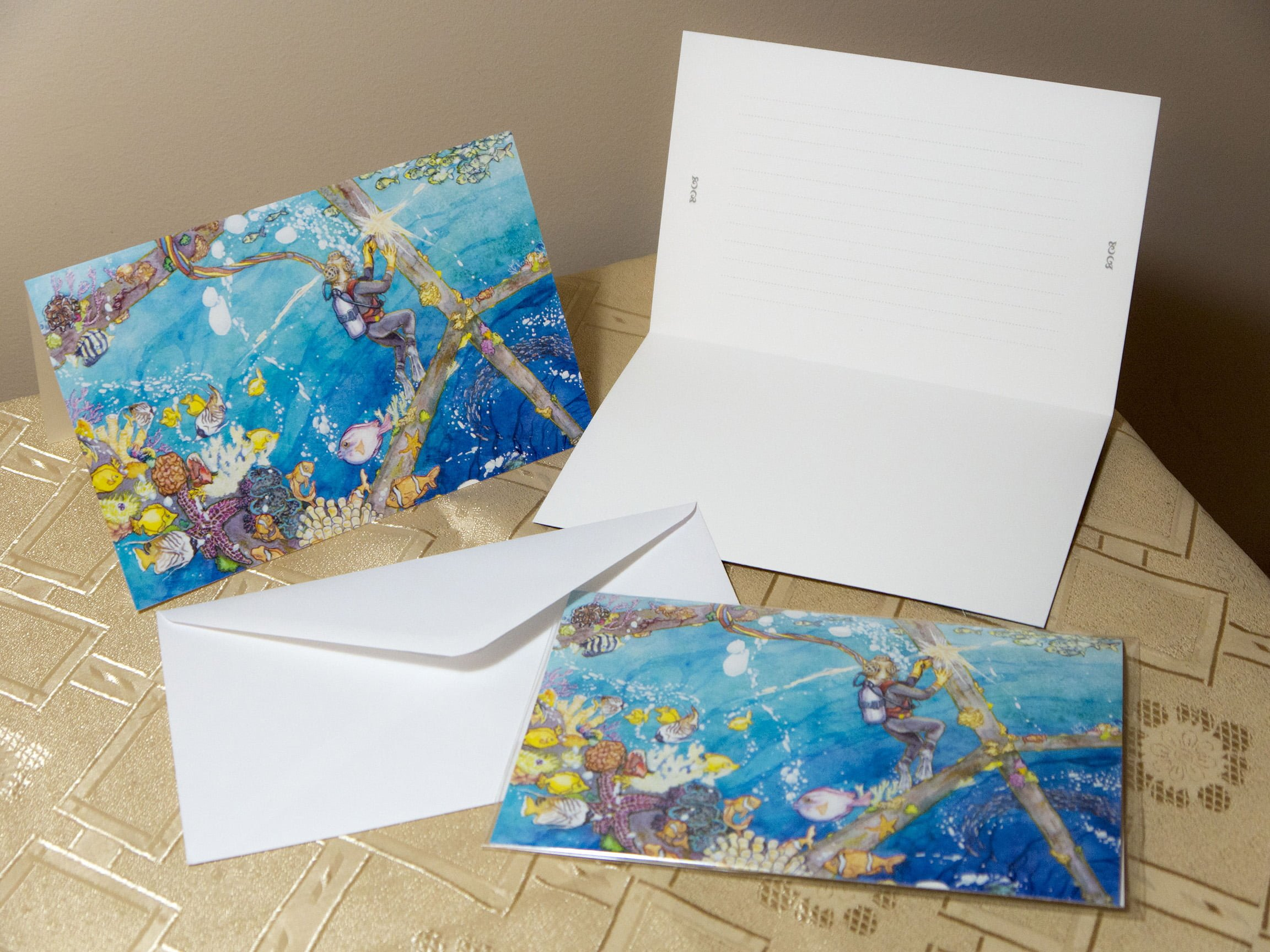 Set of greeting cards in a welding theme