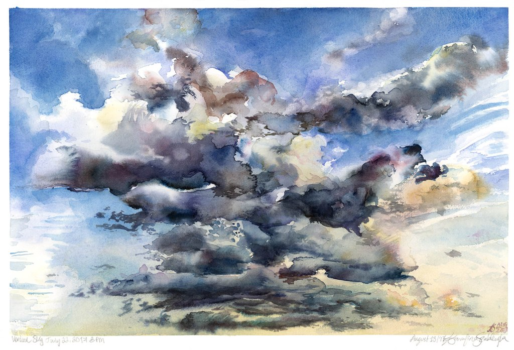 clouds in sky sunset verdun watercolour painting