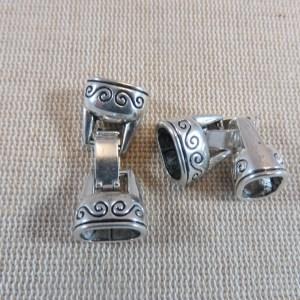 Fermoirs crochet à clip argenté vieilli pour bracelet – lot de 2