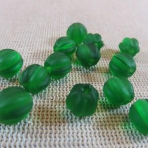 Perles lanterne lampwork vert givré 8mm – lot de 12