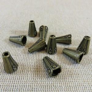 Coupelles cône bronze antique 12mmx8mm – lot de 10