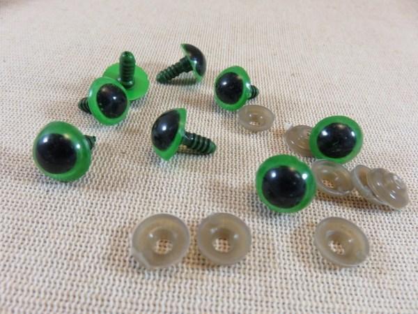 Yeux de sécurité vert 12mm rond pour amigurumi poupée - lot de 10
