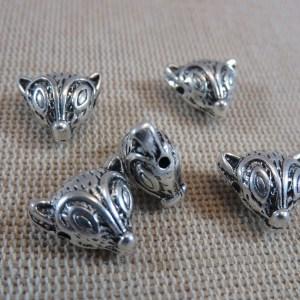 Perles tête Renard argenté 13mm en métal – lot de 5