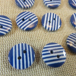 Boutons rayé blanc bleu style marin 13mm - lot de 10