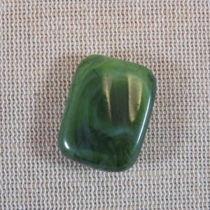 Perles rectangle verte effet Jade 25x20mm en résine – lot de 3