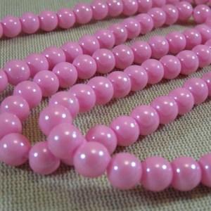 Perles rose en verre 8mm ronde – lot de 20
