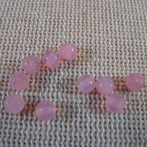 Perles en verre rose 4mm ronde – lot de 30