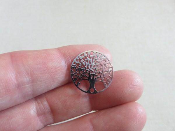 Pendentifs arbre de vie argenté émaillé 20mm - lot de 5