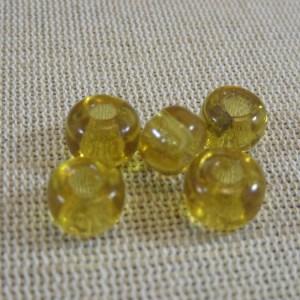 Perles palet en verre jaune ocre rondelle 10mm – lot de 18