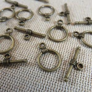 Fermoirs Toggles métal bronze style antique – lot de 10
