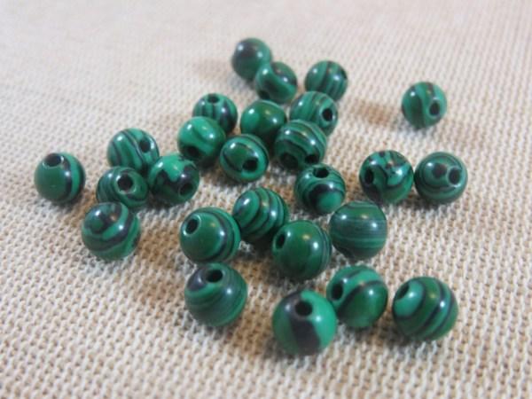 Perles Malachite synthétique 6mm verte rayé noir - lot de 10