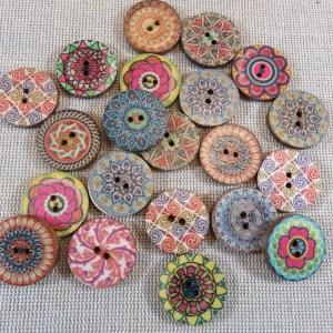 Boutons mandala en bois multicolore 20mm bouton de couture – lot de 10