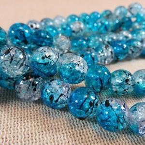 Perles en verre bleu craquelé tréfilé noir 10mm – lot de 15