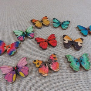 Boutons papillon bois multicolore couture scrapbooking – lot de 10