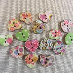 Boutons cœur en bois bouton couture multicolore - lot de 10