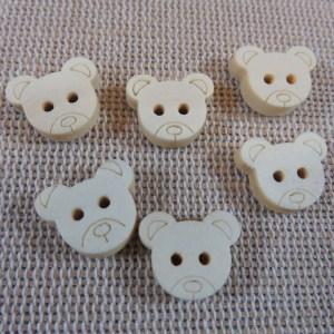 Boutons tête ourson bois brut naturelle – lot de 12 bouton de couture