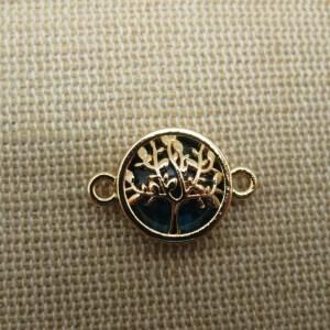 Connecteurs arbre de vie doré bleu paon 20mm x 14mm – lot de 2