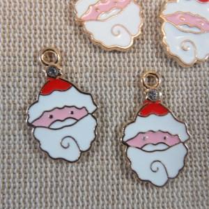 Pendentifs Père Noël métal émaillé rouge blanc – lot de 5