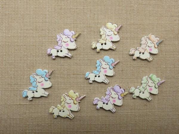 Boutons baby licorne en bois bouton couture multicolore - lot de 10