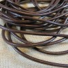 Cordon cuir marron 3mm rond - vendu par 5 mètres