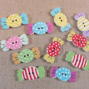 Boutons bonbon en bois multicolore 25mm - lot de 10 boutons de couture