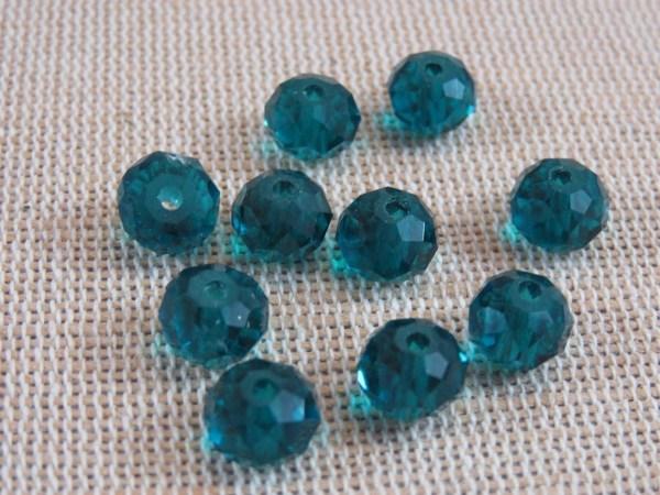 Perles en verre facetté bleu paon 8mm - lot de 20