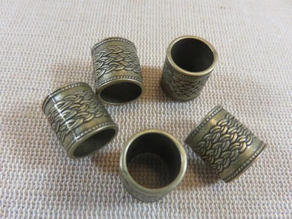 Perles colonne bronze cheveux dreadlocks barbe - lot de 4