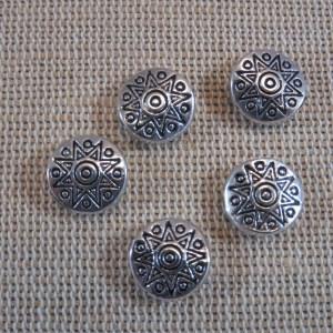 Perles soleil argenté métal 10mm ethnique incas aztèque – lot de 10