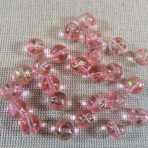 Perles rose tréfilé doré 8mm ronde en verre – lot de 20