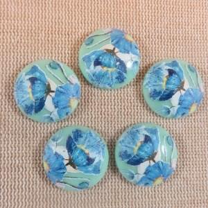 Cabochons fleuri bleu tensha en résine style vintage 20mm – lot de 5