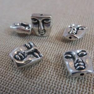 Perles visage 3D Bouddha argenté 12x10mm en métal – lot de 5