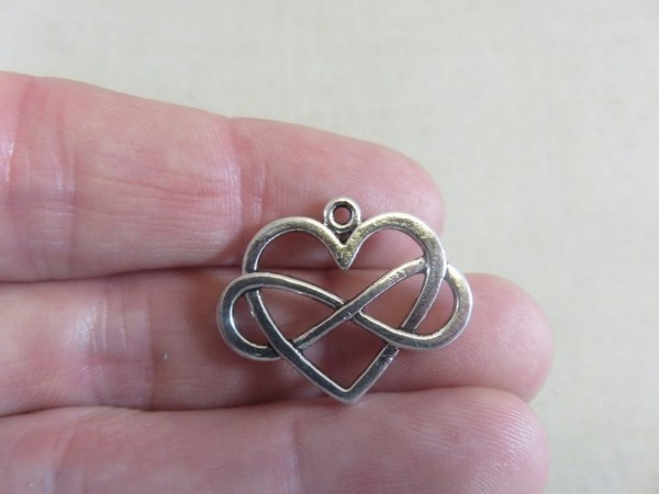Pendentifs cœur infini argenté 27mmx22mm - lot de 5
