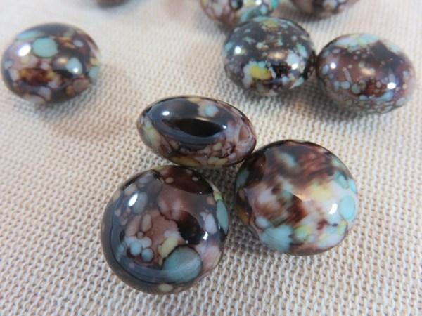 Perles ronde aplatie marron tacheté 17mm en acrylique - lot de 10