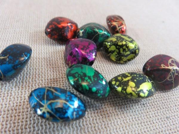 Perles ovale navette acrylique multicolore 17mm - lot de 10